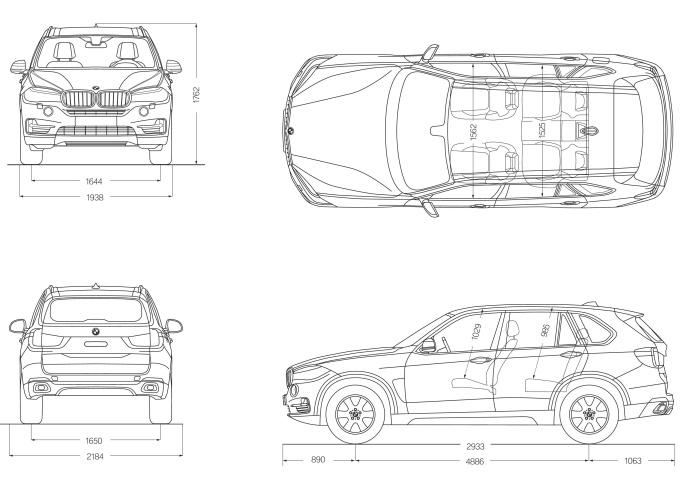 BMW X5 2014 F15 size